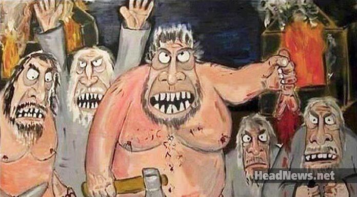 кацапы рубят себе хуи, чтоб пиндосам отомстить. Карикатура. Главные новости Украины сегодня без цензуры